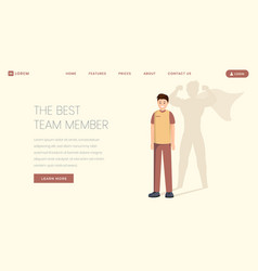 best team member landing page template vector image