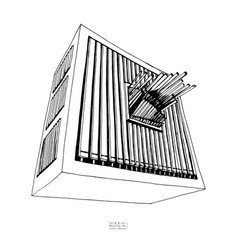 Black and white hand drawn sketch of organ large vector