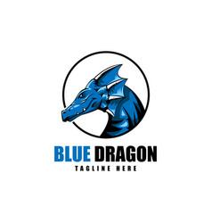 blue dragon logo icon vector image