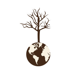 brown color world earth with branch three without vector image
