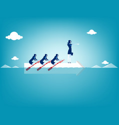 Business teamwork on rowing concept business vector