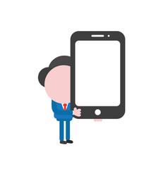 businessman character holding smartphone vector image