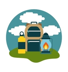 Camping bag and lantern icon vector
