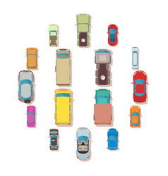 Car top view above over icons set flat style vector