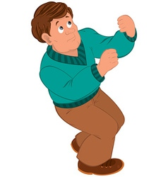 Cartoon man with brown hair in green sweater vector