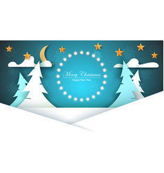 cartoon paper new year merry christmas vector image