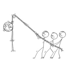 cartoon people hanging planet earth hanged on vector image