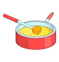 Cheese fondue icon cartoon style vector