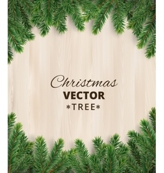 Christmas tree branches on wooden background vector image