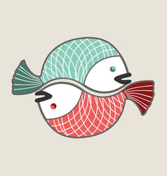 circle love fishes vector image