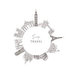 City travel landmarks tourist attraction vector