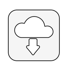 Cloud computing with arrow download isolated icon vector