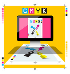 Cmyk printing document on pc computer with marks vector