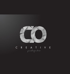 Co c o letter logo with zebra lines texture vector
