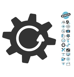Cogwheel Rotation Direction Icon With Air Drone vector