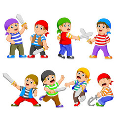 collection pirates holding sword vector image