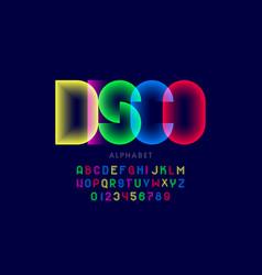 Colorful disco style font design alphabet letters vector