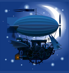 Complex fantastic flying ship in night sky with vector