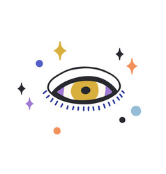 Composition esoteric evil eye with stars around vector