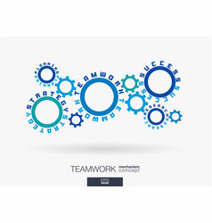 connected cogwheels concept teamwork success vector image