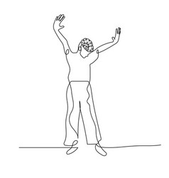 Continuous one line dancing woman with short curly vector