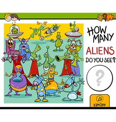 Counting aliens task for kids vector