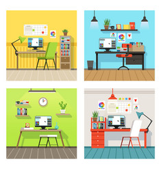 Creative work space for designers and artists vector