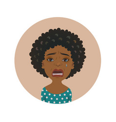 cute afro american crying woman facial expression vector image