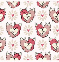 Cute fox hug hearts seamless repeat vector