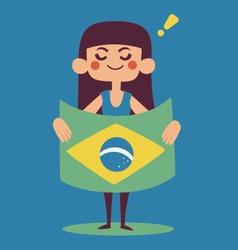Cute Girl Holding a Brazilian Flag vector