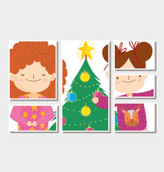 Cute little girls tree with balls merry christmas vector