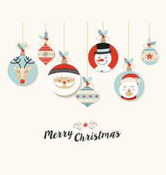 Cute merry christmas retro bauble greeting card vector