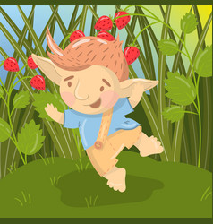 Cute smiling troll boy character funny creature vector