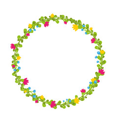 Cute thin spring floral wreath with berries and vector