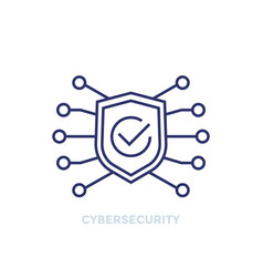 cyber security line icon with shield and checkmark vector image