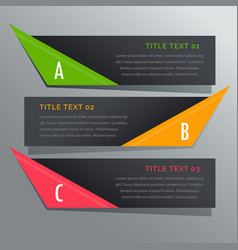 dark horizontal banners options infographic vector image