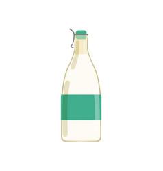 Drinking yogurt kefir or milk in glass bottle vector