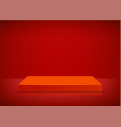 empty stage red background podium vector image