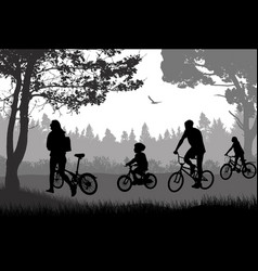 family on cycle ride on a summer trip vector image