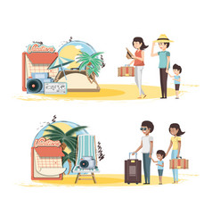 family vacations set icons travel vector image