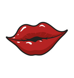 female bright glossy lips in a smile vector image