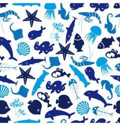 fish and sea life seamless pattern eps10 vector image