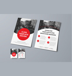 flyer template with round red elements and place vector image
