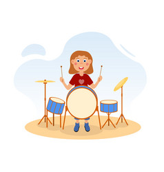 Girl playing drum in studio girlsband audition vector