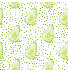 Green avocado seamless pattern on dots background vector