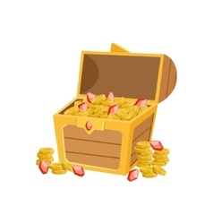 Half Open Pirate Chest With Golden Coins And vector image