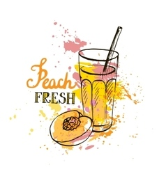 hand drawn peach juice in glass vector image