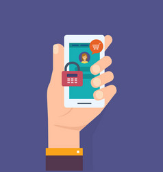 hand with smartphone with password notification vector image