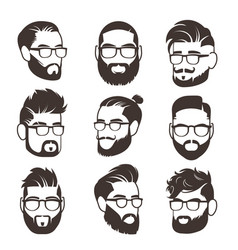 Handsome bearded hipster man faces with mustache vector