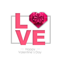 happy valentines day background with love heart vector image
